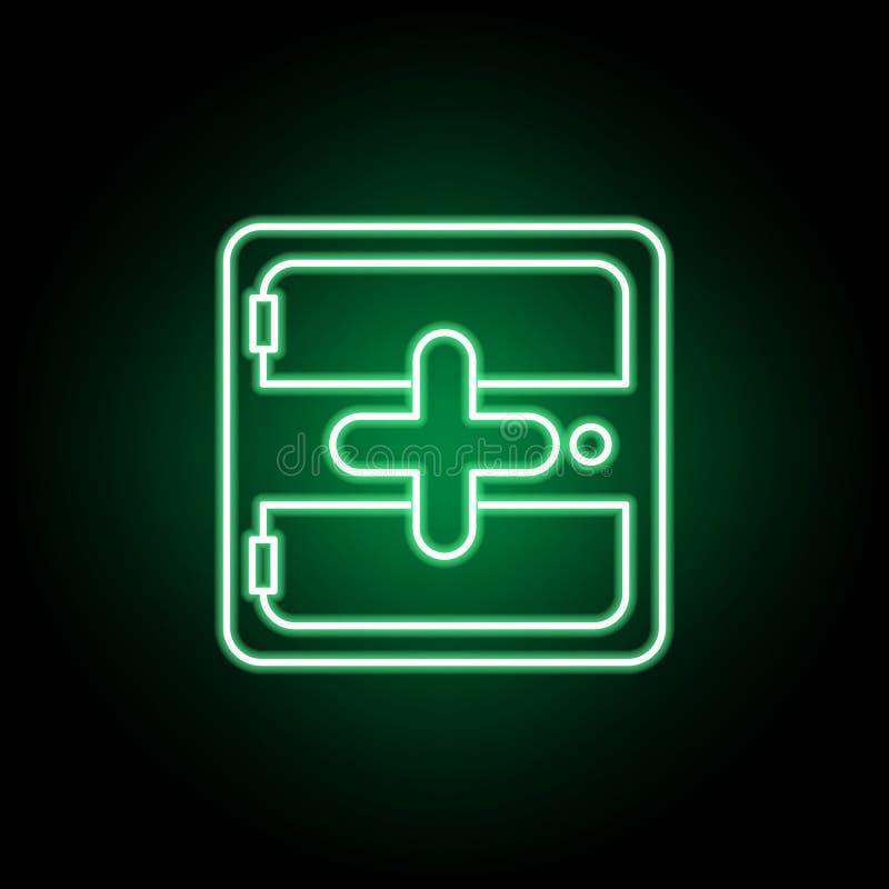 Médical, icône de kit de secours dans le style au néon ?l?ment d'illustration de m?decine Des signes et l'ic?ne de symboles peuve illustration stock