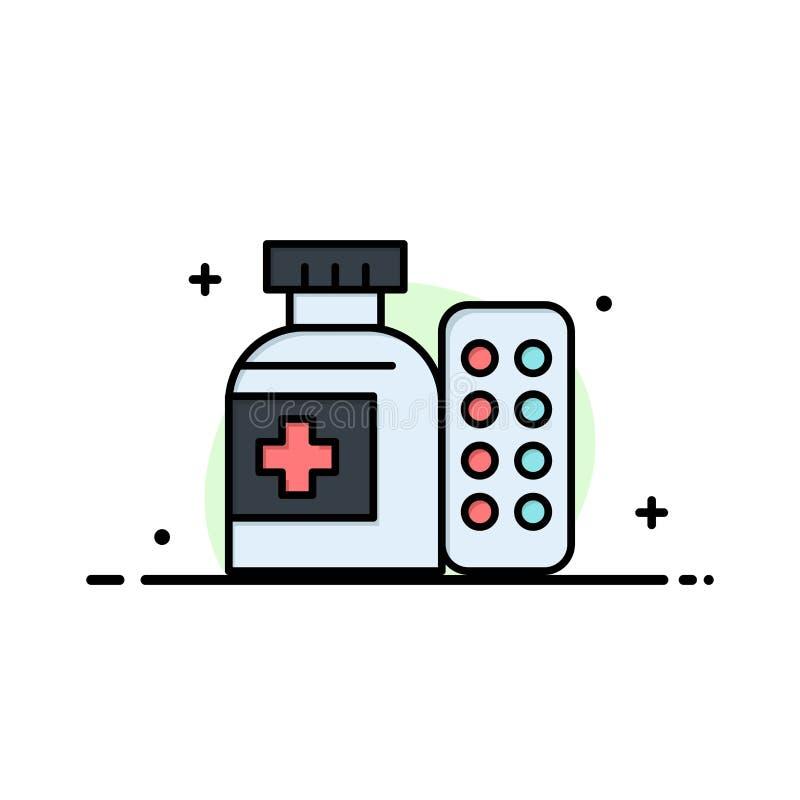 Médical, médecine, pilules, ligne plate d'affaires d'hôpital a rempli calibre de bannière de vecteur d'icône illustration libre de droits
