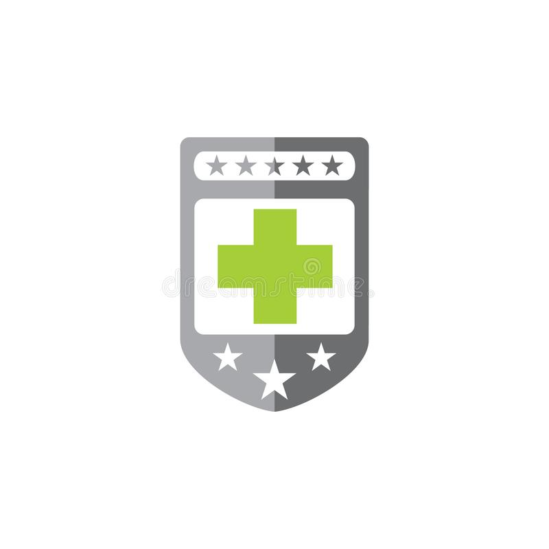 Médical plus avec le vecteur de logo de bouclier illustration stock