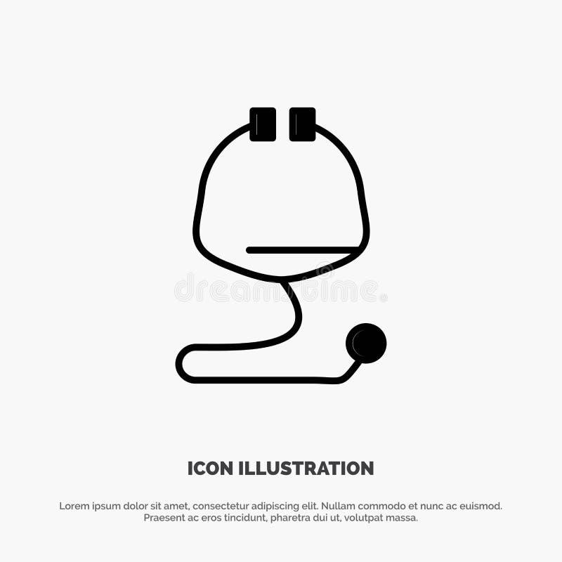 Médical, soins de santé, médicaux, vecteur solide d'icône de Glyph de stéthoscope illustration stock