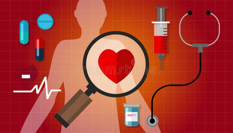 Médicament rouge sain de problème d'impulsion de la maladie de failurea de coeur illustration stock