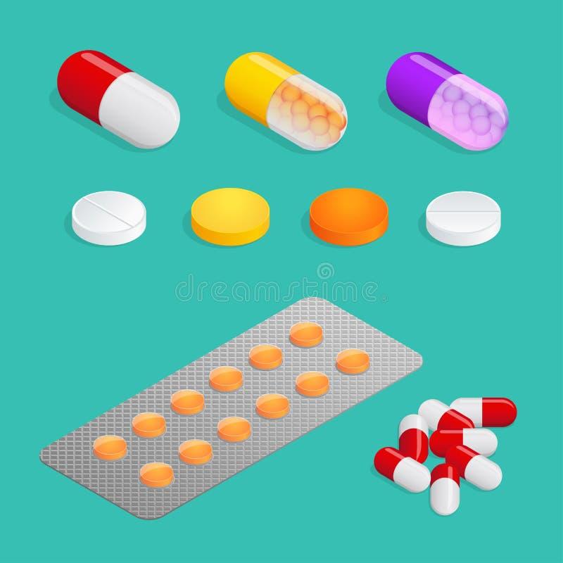 Médicaments des divers types, ensemble de pilule médicale Beaucoup de pillules colorées illustration libre de droits