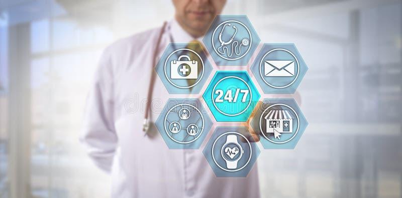 Médico Activating de la Internet-comprensión 24/7 servicio imágenes de archivo libres de regalías