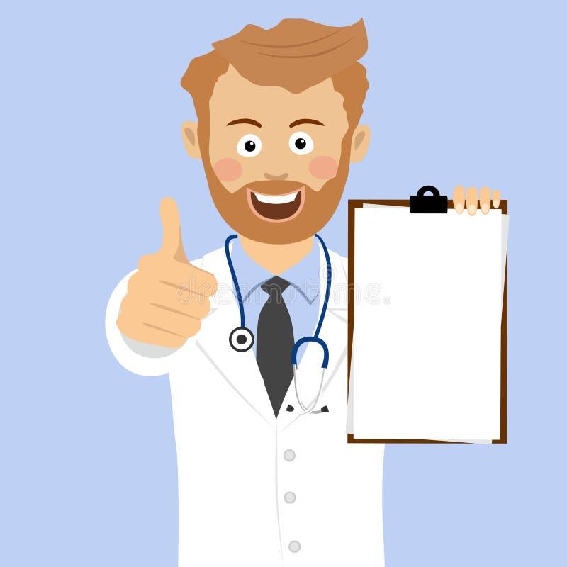 Médico barbudo joven que muestra el tablero en blanco que da los pulgares para arriba ilustración del vector