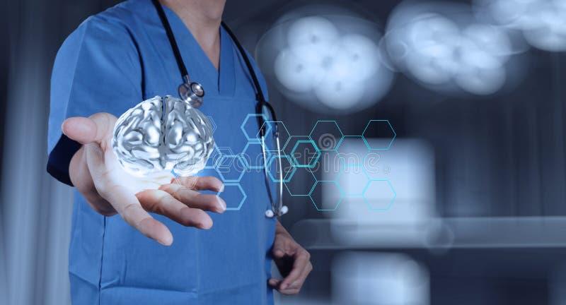 Médico con el metal del cerebro 3d imagenes de archivo