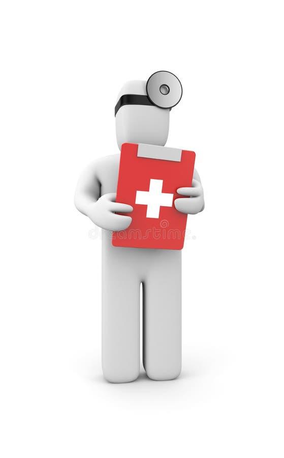Médico con el sujetapapeles ilustración del vector