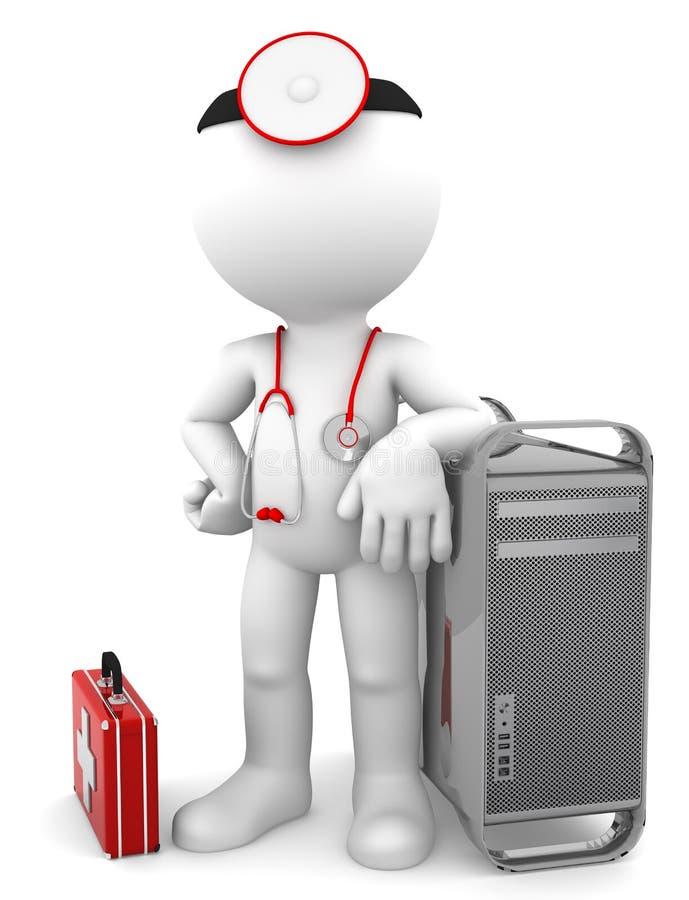 Médico con la torre del ordenador. Concepto de la reparación del ordenador stock de ilustración