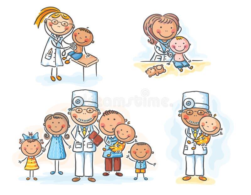 Médico de cabecera con sus pacientes, gráficos de la historieta, ejemplo stock de ilustración