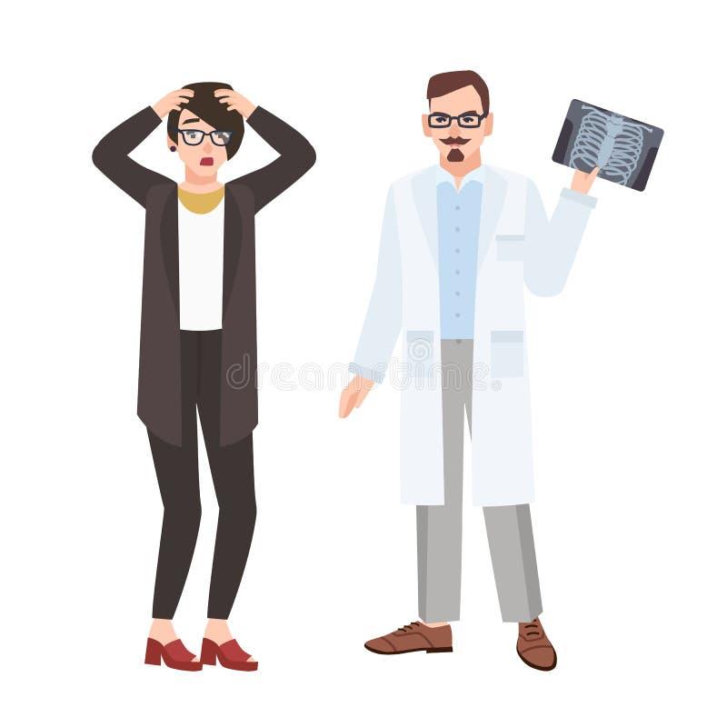 Médico de sexo masculino enojado del doctor que demuestra la radiografía de la caja torácica al paciente femenino asustado y que  ilustración del vector