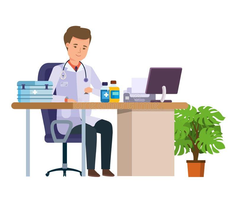 Médico do caráter Cuidados médicos e ajuda médica Escritório do ` s do doutor ilustração royalty free