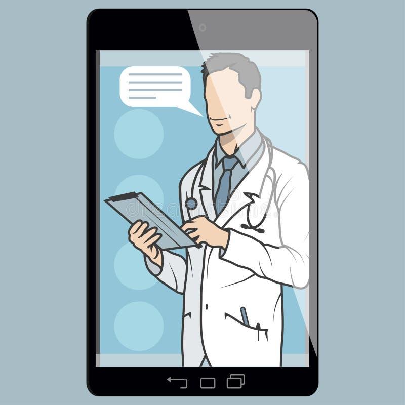 Médico em linha, consulta em linha e apoio, emblema móvel da medicina, ícone, símbolo, ilustração, vetor, doutor em linha, ilustração do vetor