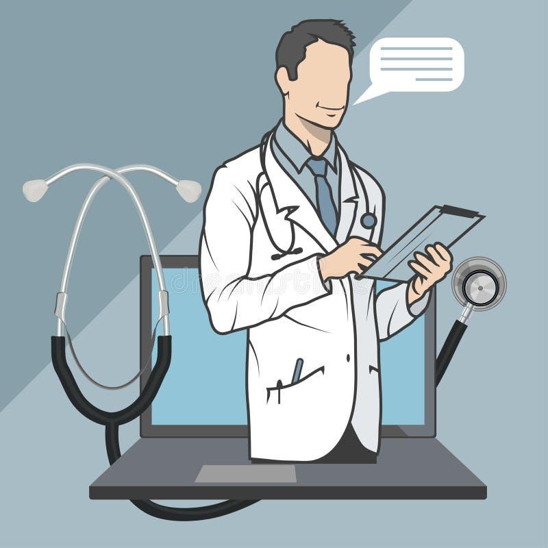 Médico en línea, consulta en línea y ayuda, emblema móvil de la medicina, icono, símbolo, ejemplo, vector, doctor en línea, ilustración del vector
