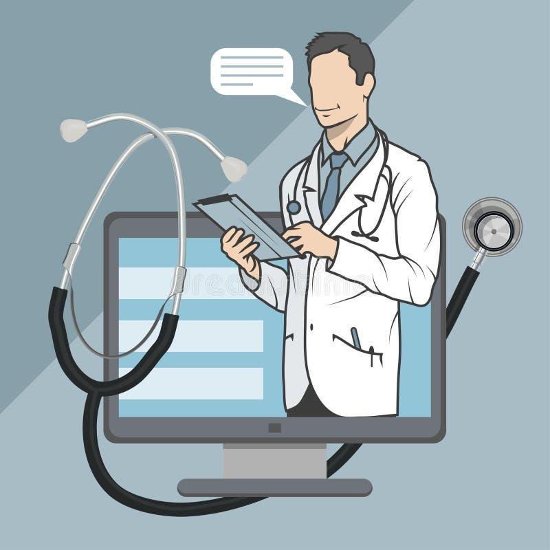 Médico en línea, consulta en línea y ayuda, emblema móvil de la medicina, icono, símbolo, ejemplo, vector, doctor en línea, stock de ilustración