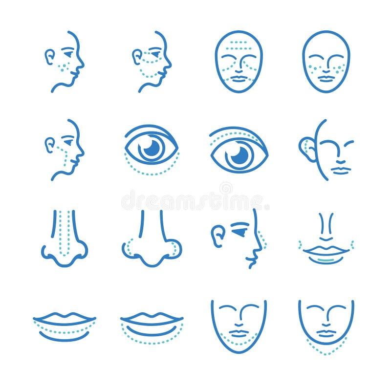 Médico: Iconos de la cirugía cosmética fijados ilustración del vector