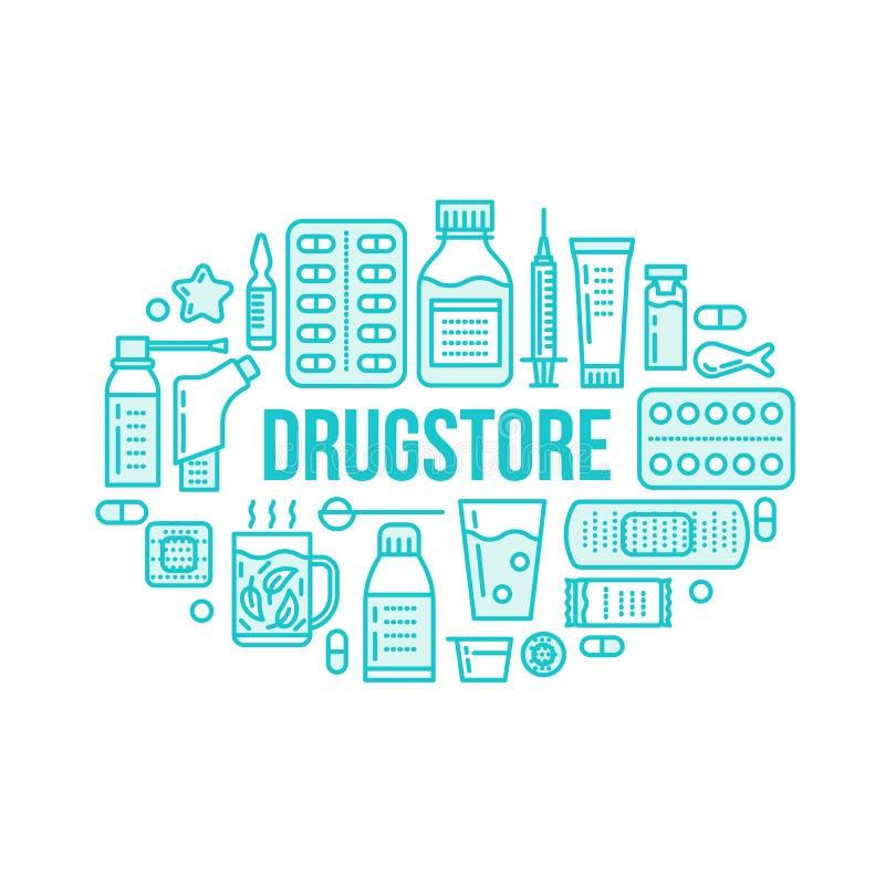 Médico, ilustração da bandeira da drograria Linha tabuleta do vetor da farmácia dos ícones, cápsulas, comprimidos, antibióticos,  ilustração stock
