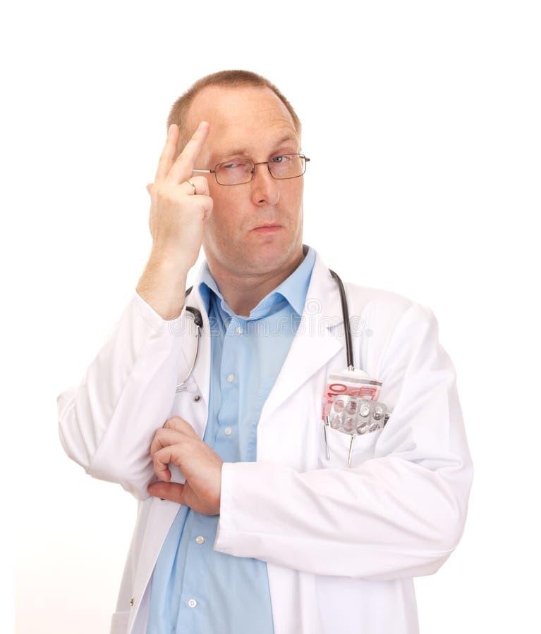 Médico louco com dinheiro foto de stock royalty free