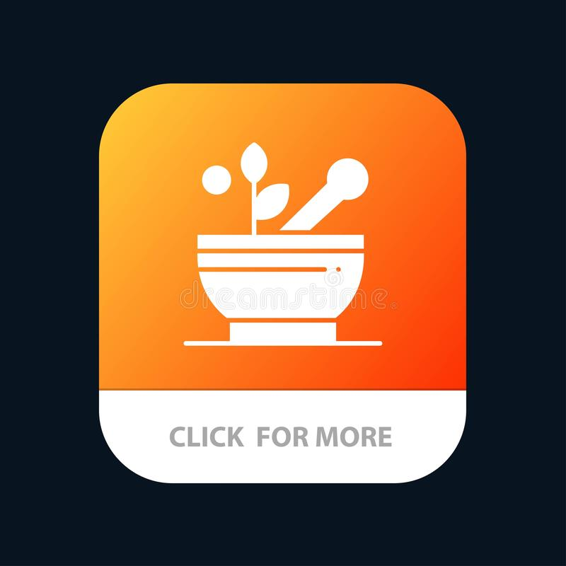 Médico, medicina, sopa, botão móvel do App do hospital Android e do Glyph do IOS versão ilustração do vetor