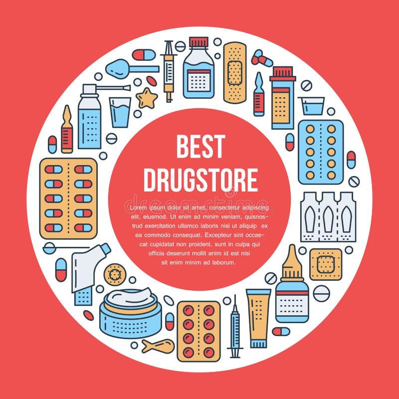 Médico, molde do cartaz da drograria Vector a linha ícones do medicamento, ilustração de formulários de dosagem - tabuleta, cápsu ilustração royalty free