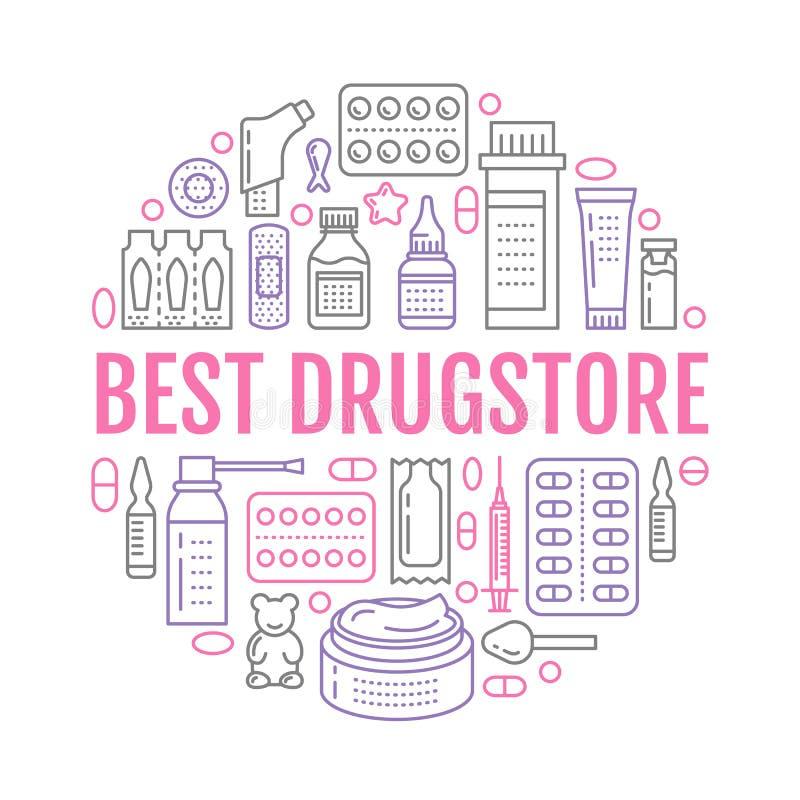 Médico, molde do cartaz da drograria Vector a linha ícones do medicamento, ilustração de formulários de dosagem - tabuleta, cápsu ilustração stock