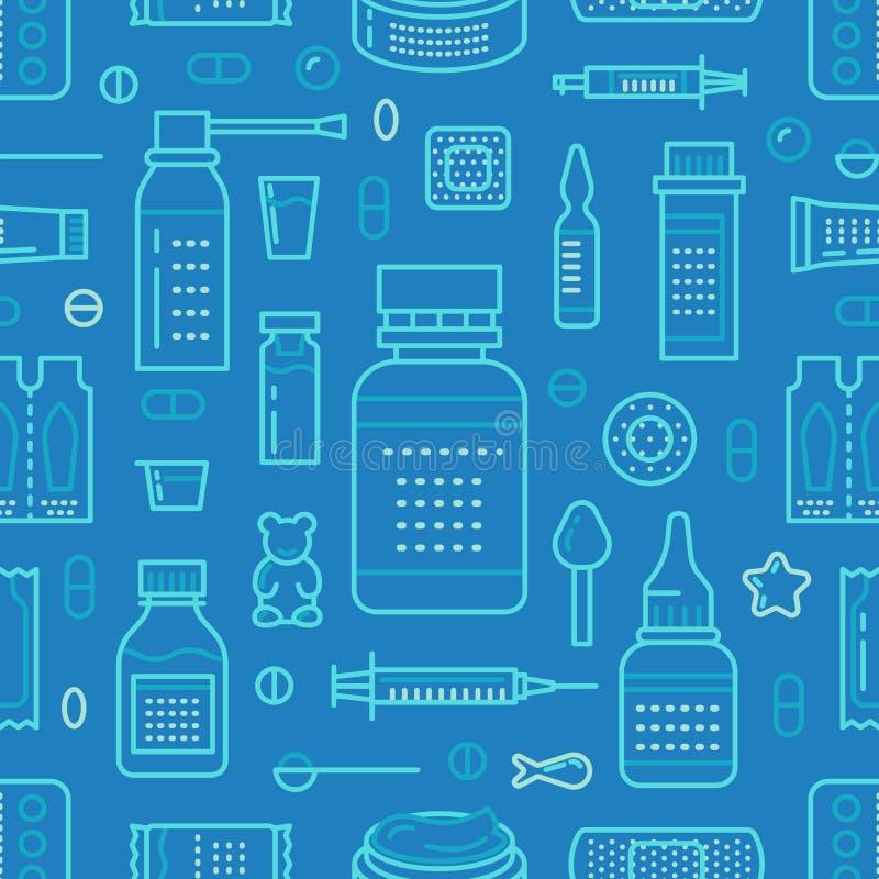 Médico, o teste padrão sem emenda da drograria, vetor da farmácia coloriu o fundo da cor azul Antibióticos das medicinas, vitamin ilustração stock