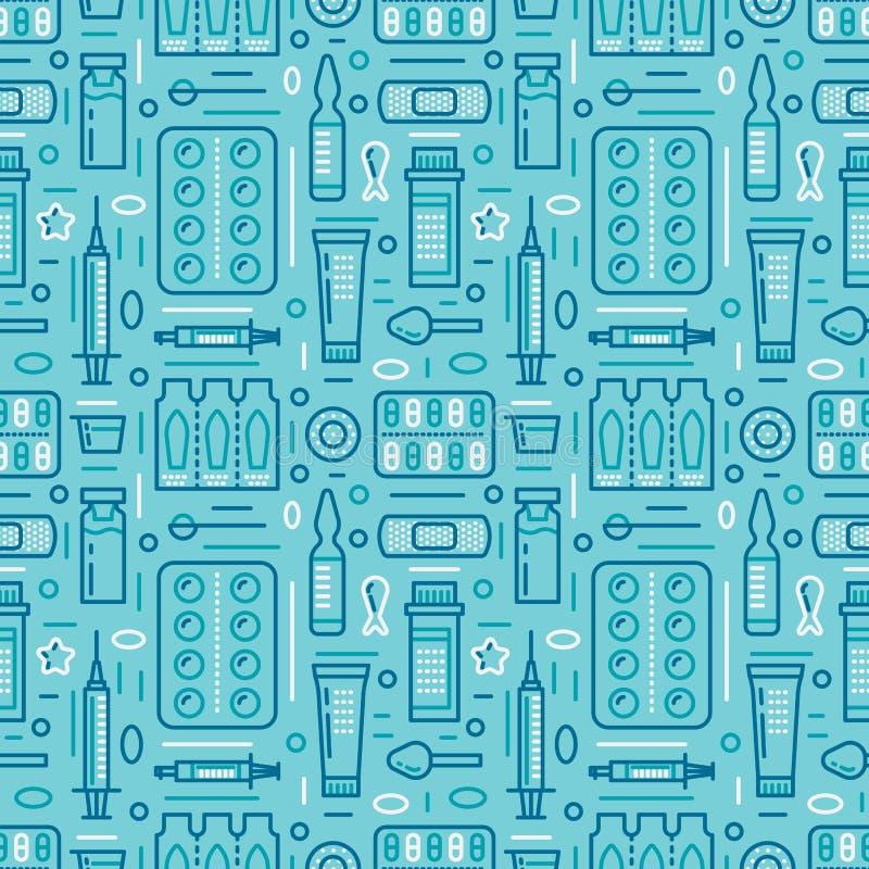 Médico, o teste padrão sem emenda da drograria, vetor da farmácia coloriu o fundo da cor azul Antibióticos das medicinas, vitamin ilustração royalty free