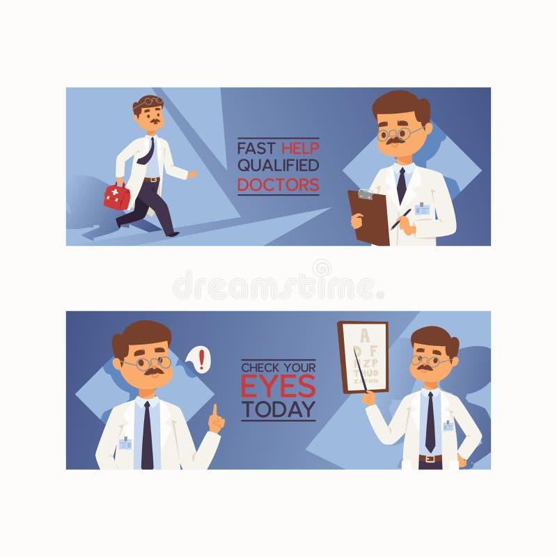 Médico profesional del trabajador médico del carácter doctoral de la gente del vector del doctor con el medicina-pecho en el ejem stock de ilustración