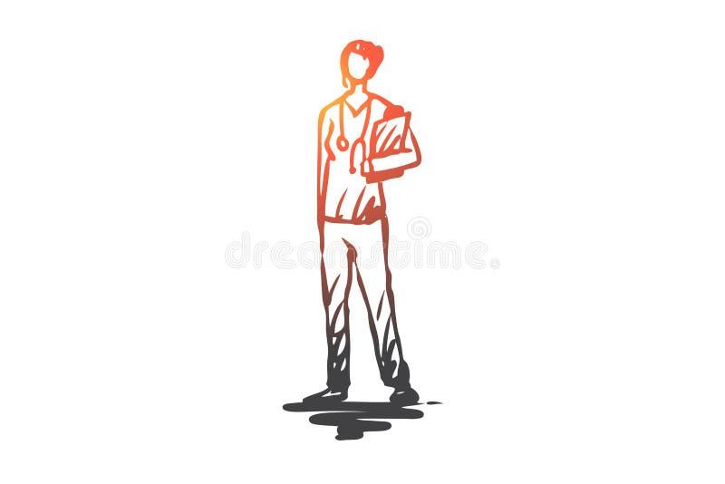 Médico, trabajador, hembra, medicina, concepto del doctor Vector aislado dibujado mano libre illustration