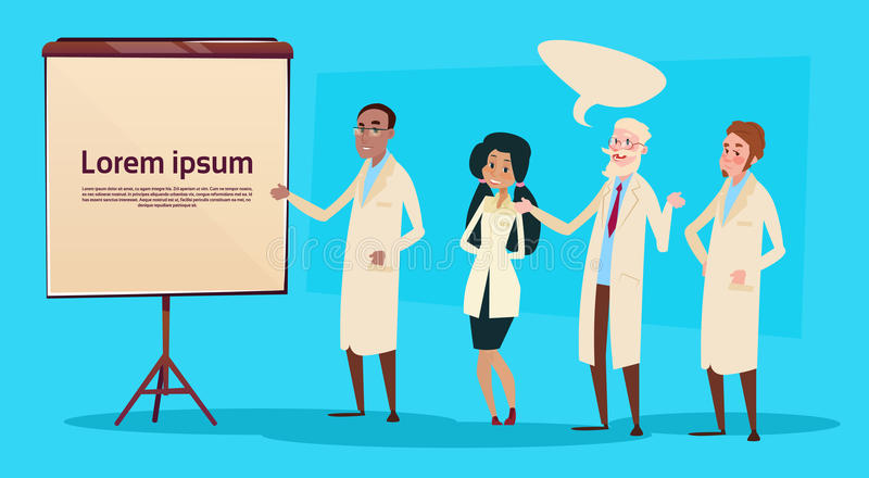 Médicos grupo Team People Intern Lecture Study da raça da mistura ilustração stock