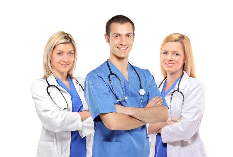 Médicos sonrientes con los estetoscopios fotografía de archivo libre de regalías