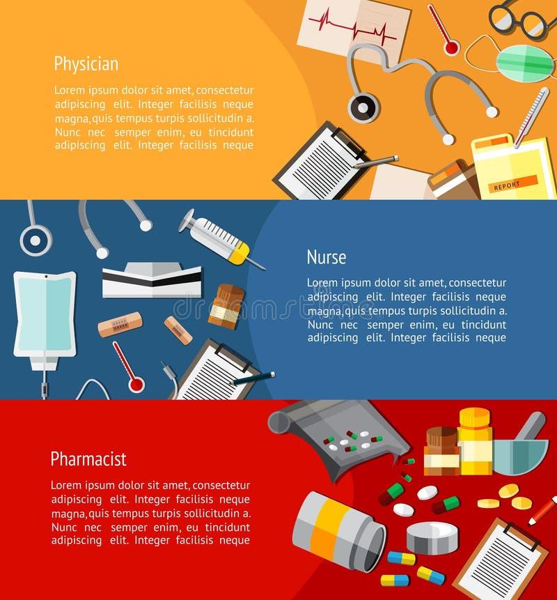Médicos tais como o doutor, a enfermeira, e o farmacêutico e os cuidados médicos ilustração royalty free