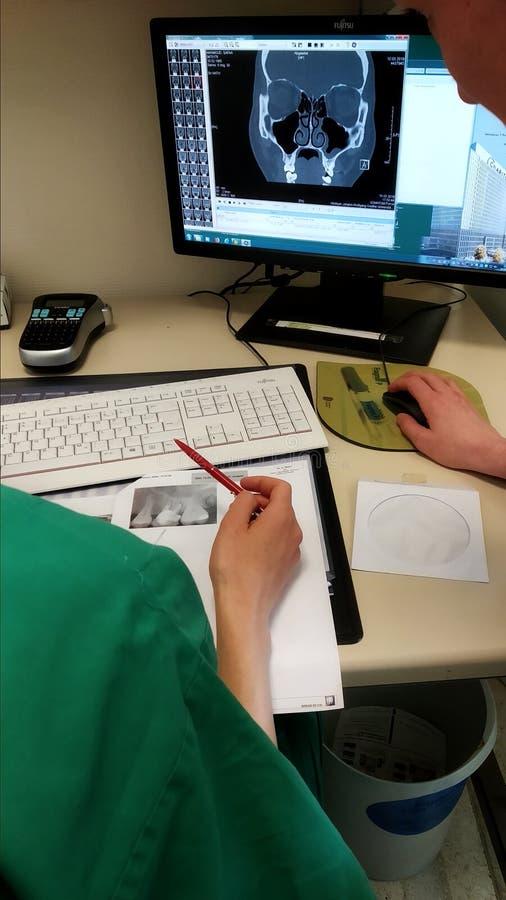 Médicos verificando a ressonância magnética no ecrã fotos de stock royalty free