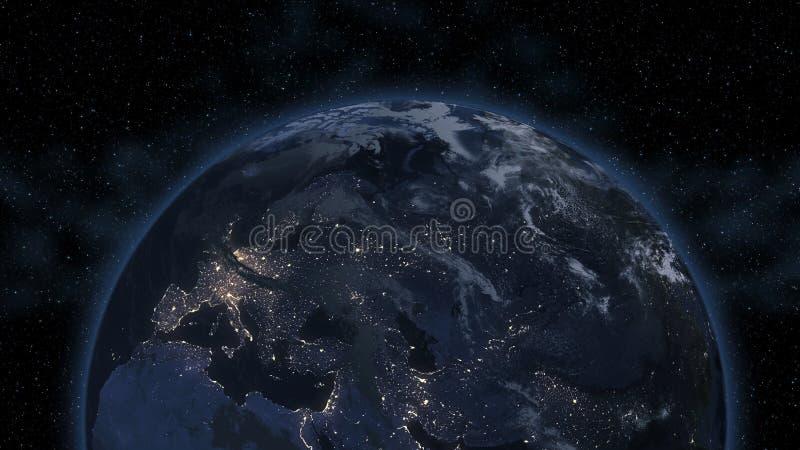 Médio Oriente, Ásia ocidental, Europa do leste ilumina-se durante a noite enquanto olha como do espaço Os elementos desta imagem  imagem de stock