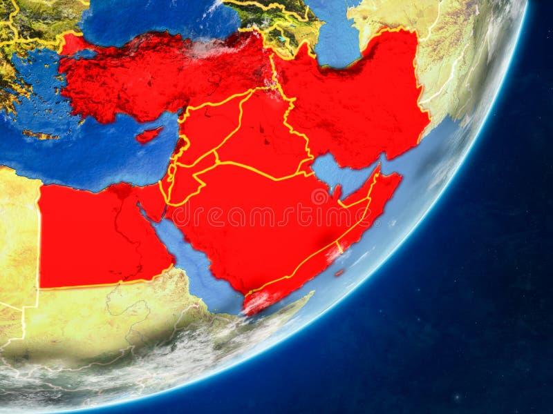 Médio Oriente na terra do espaço ilustração do vetor