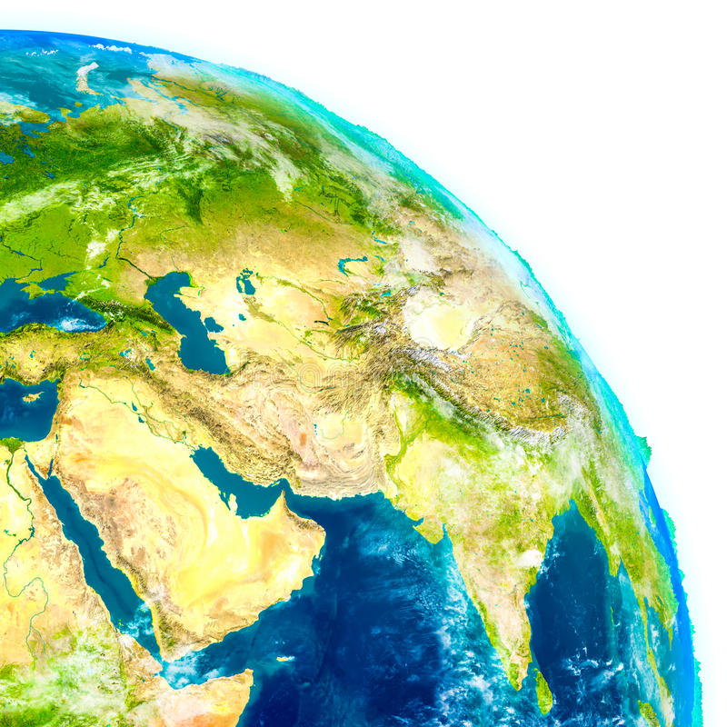 Médio Oriente no globo físico ilustração royalty free