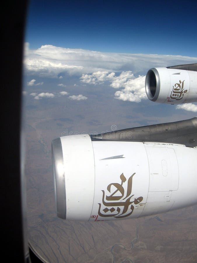 Médio Oriente ou África, voo desencapado pitoresco da cordilheira sobre Irã na maneira à fotografia da paisagem de Omã imagens de stock royalty free