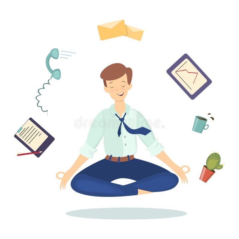 Méditation au travail illustration de vecteur