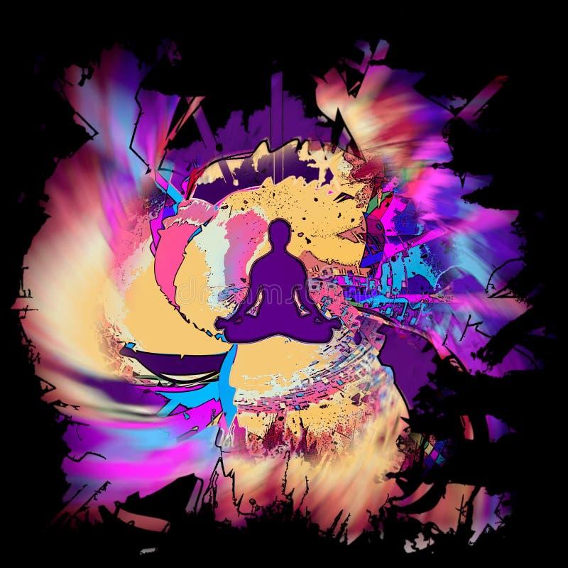 Méditation créative d'esprit illustration stock