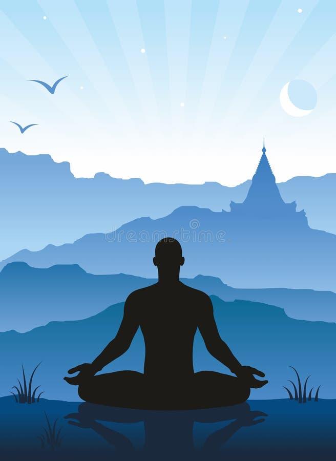 Méditation dans les montagnes illustration stock
