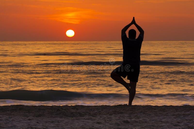 Méditation de silhouette d'homme de pose d'arbre de yoga de lever de soleil photos stock