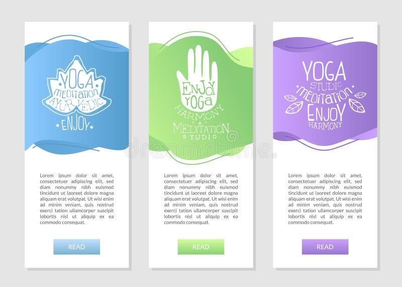 Méditation de studio de yoga, cartes de visite professionnelle de visite d'Ayurvedic réglées avec des symboles ethniques et endro illustration stock