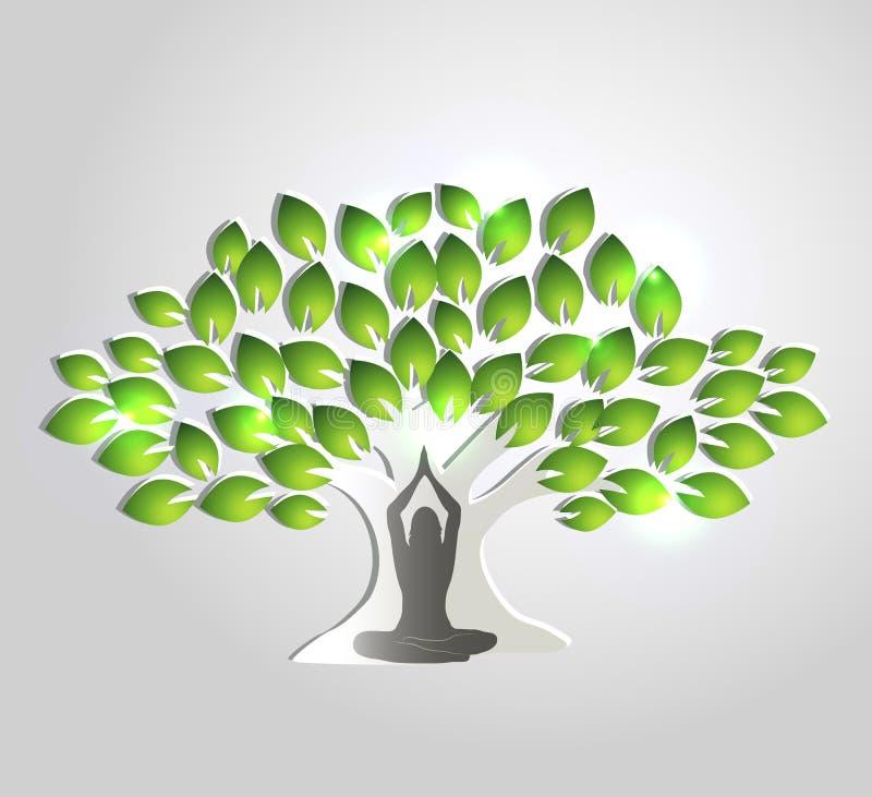 Méditation et arbre de yoga illustration de vecteur