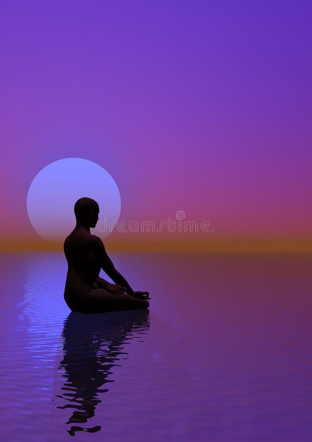 Méditation et lune violette illustration de vecteur