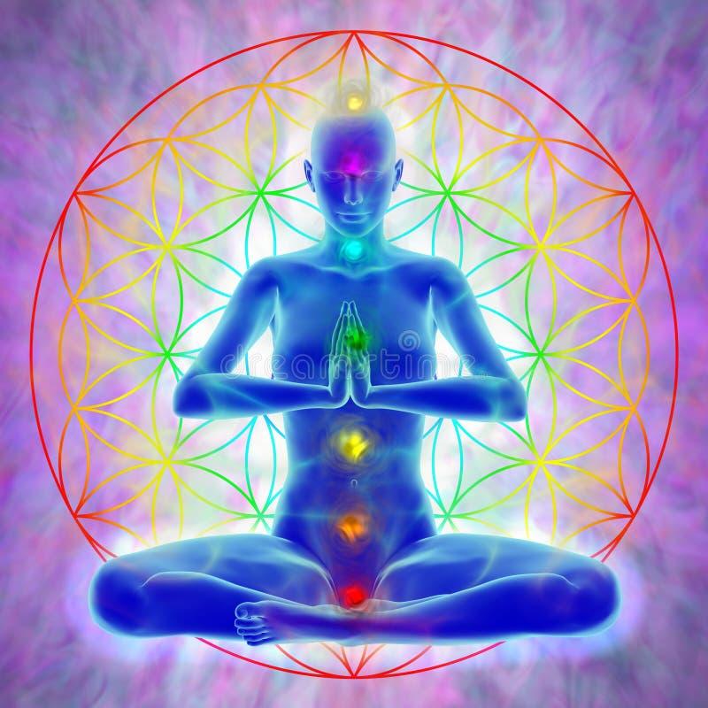 Méditation - fleur de la vie illustration de vecteur