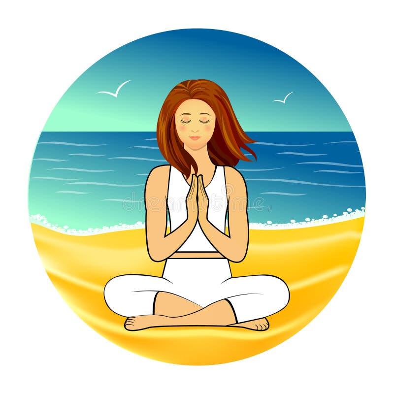 Méditation sur la plage de sable illustration libre de droits