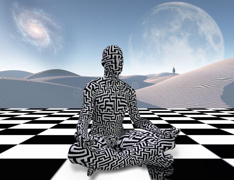 Méditation sur un échiquier illustration de vecteur