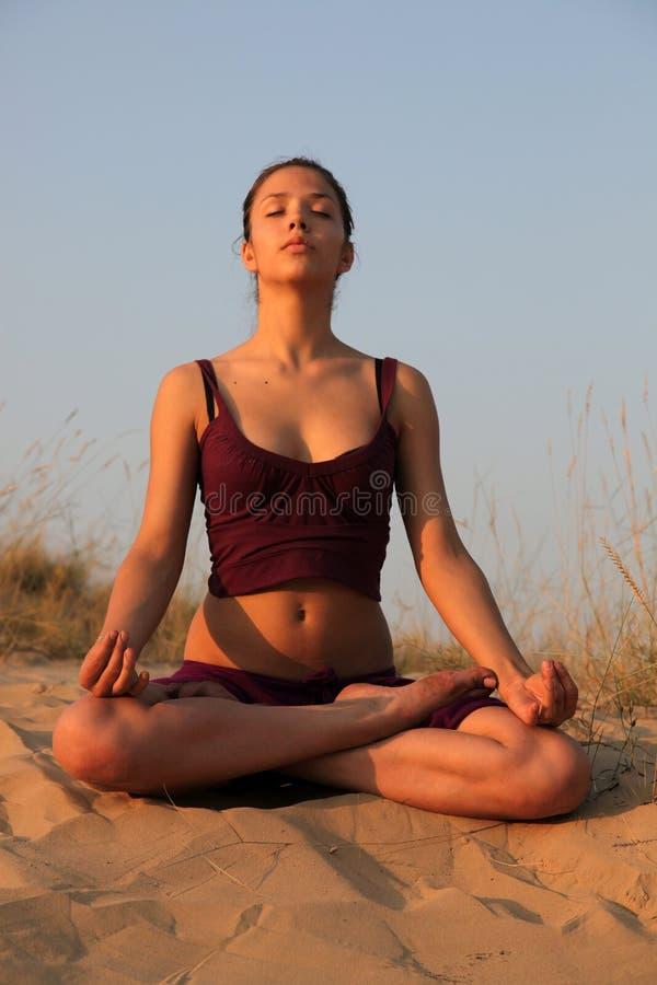 Méditation sur un déclin images stock