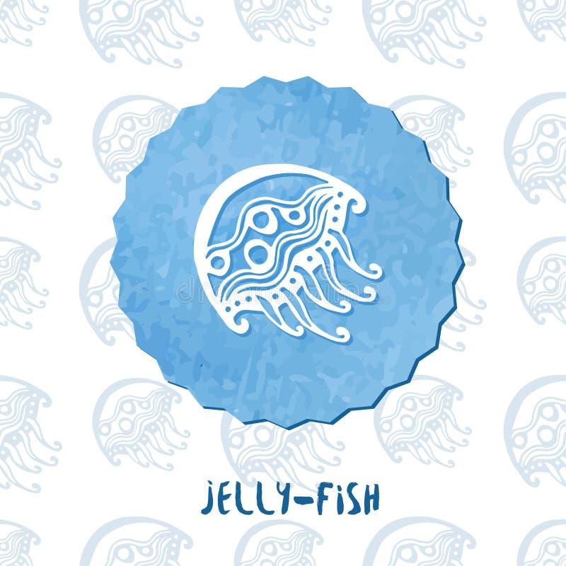Méduse d'aquarelle Icône de griffonnage de méduses sur le fond de modèle Illustration de vecteur illustration libre de droits