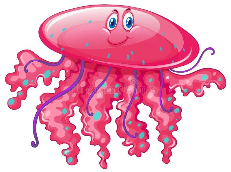Méduses avec le visage heureux illustration stock