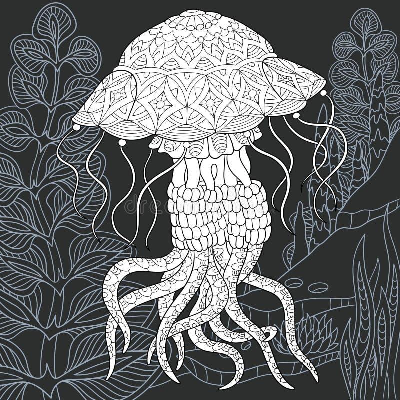 Méduses dans le style noir et blanc illustration libre de droits