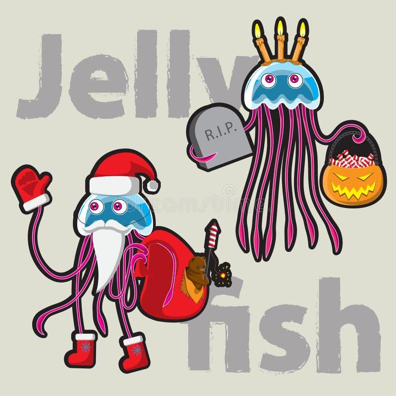 Méduses drôles Santa Claus et Halloween de caractère Image de vecteur illustration de vecteur